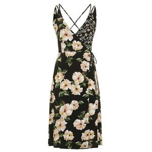 Topshop Busy Garden print plunge wrap slip dress